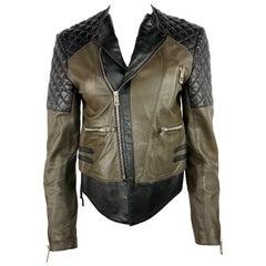 Vintage Balenciaga Black and Olive Moto Leather Jacket, Size 42