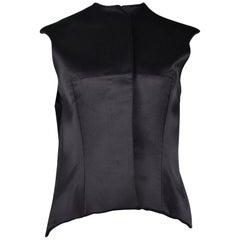 Vintage Balenciaga Black Silk Satin Neoprene Vest 2008