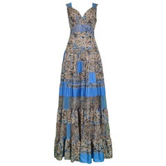 Vintage Balenciaga By Ghesquiere Blue & Paisley Patchwork Maxi Dress 2005