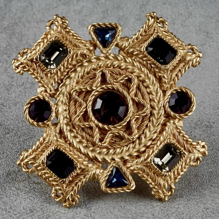 Women's or Men's Vintage BALENCIAGA Byzantine Jewelled Cross Pendant Brooch For Sale