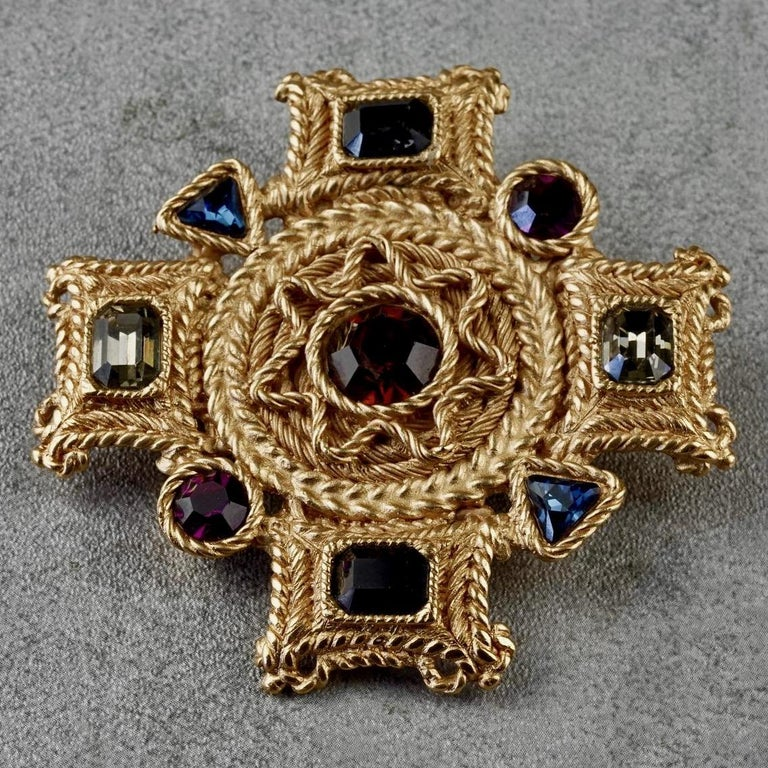 Vintage BALENCIAGA Byzantine Jewelled Cross Pendant Brooch For Sale 2