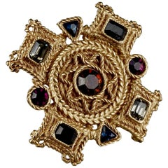 Vintage BALENCIAGA Byzantine Jewelled Cross Pendant Brooch