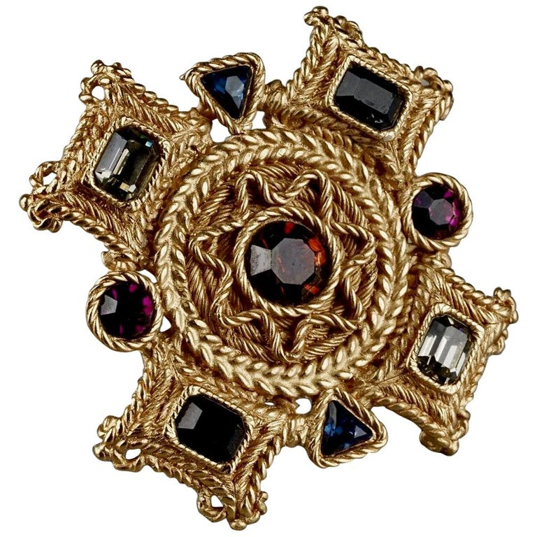 Vintage BALENCIAGA Byzantine Jewelled Cross Pendant Brooch For Sale