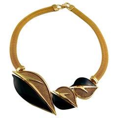Vintage BALENCIAGA Enamel Leaves Mesh Choker Necklace