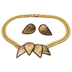 Vintage BALENCIAGA Leaf Rhinestone Earrings Necklace Set