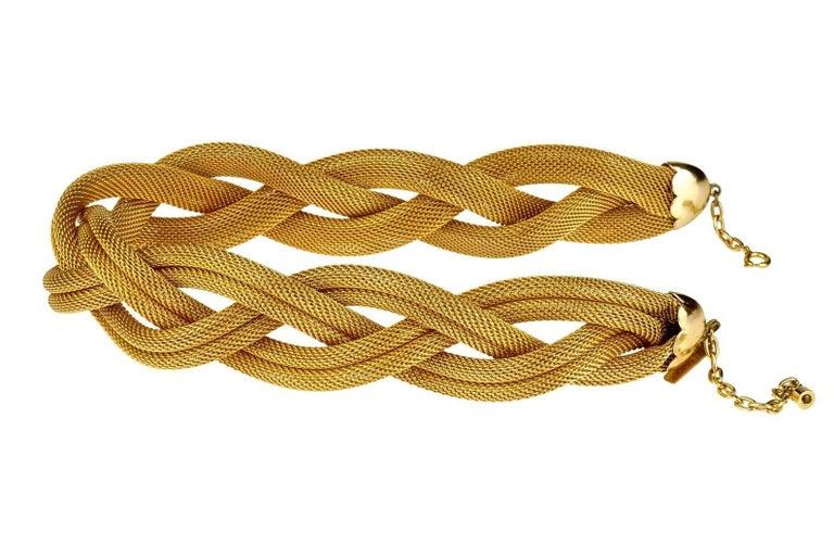 Vintage BALENCIAGA PARIS Braided Mesh Choker Necklace In Good Condition For Sale In Kingersheim, Alsace