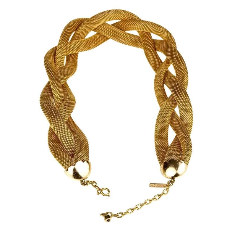 Vintage BALENCIAGA PARIS Braided Mesh Choker Necklace For Sale 1