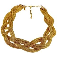 Vintage BALENCIAGA PARIS Braided Mesh Choker Necklace