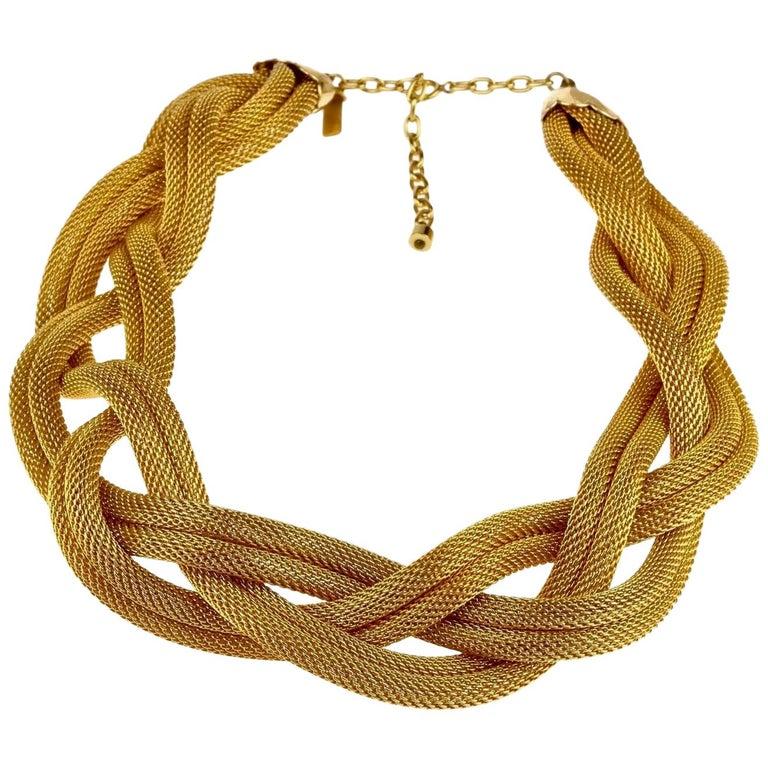 Vintage BALENCIAGA PARIS Braided Mesh Choker Necklace For Sale