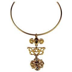Vintage BALENCIAGA PARIS Logo Choker Necklace
