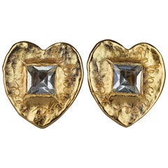 Vintage BALENCIAGA Textured Logo Heart Stone Earrings