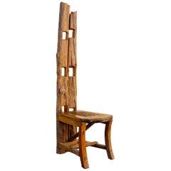 Vintage Balinese Teak Folk Art Chair, Handmade