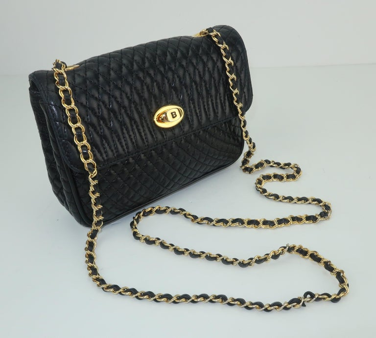 Vintage Bally Black Leather Quilted Chain Strap Handbag