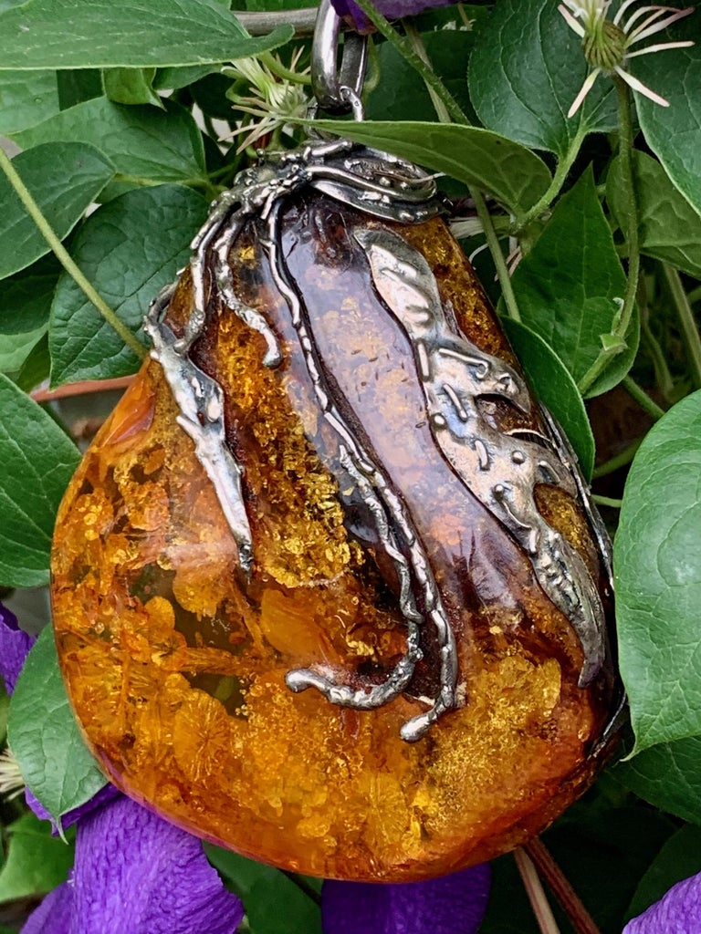 This HUGE vintage Baltic Amber drop-shaped pendant with artistic applied Silver on a Sterling Silver choker style necklace is absolutely stunning, breathtaking, show-stopping; it's simply amazing!    It is stamped with European hallmarks near its