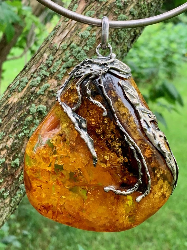 Vintage Baltic Amber Artistic Applied Silver on Sterling Silver Choke Necklace For Sale 3