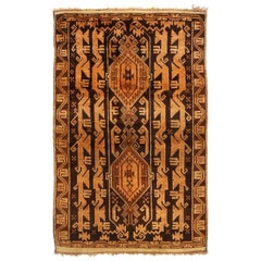 Vintage Baluch Transitional Golden Brown Wool Persian Rug