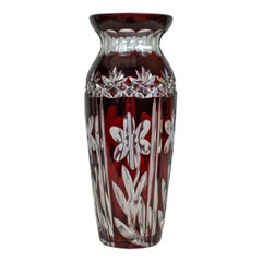 Vintage Baluster Glass Vase, Claret, Cut, Art Deco Taste, Mid-20th Century