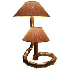 Vintage Bamboo and Rattan Brass Table Lamp, Italy