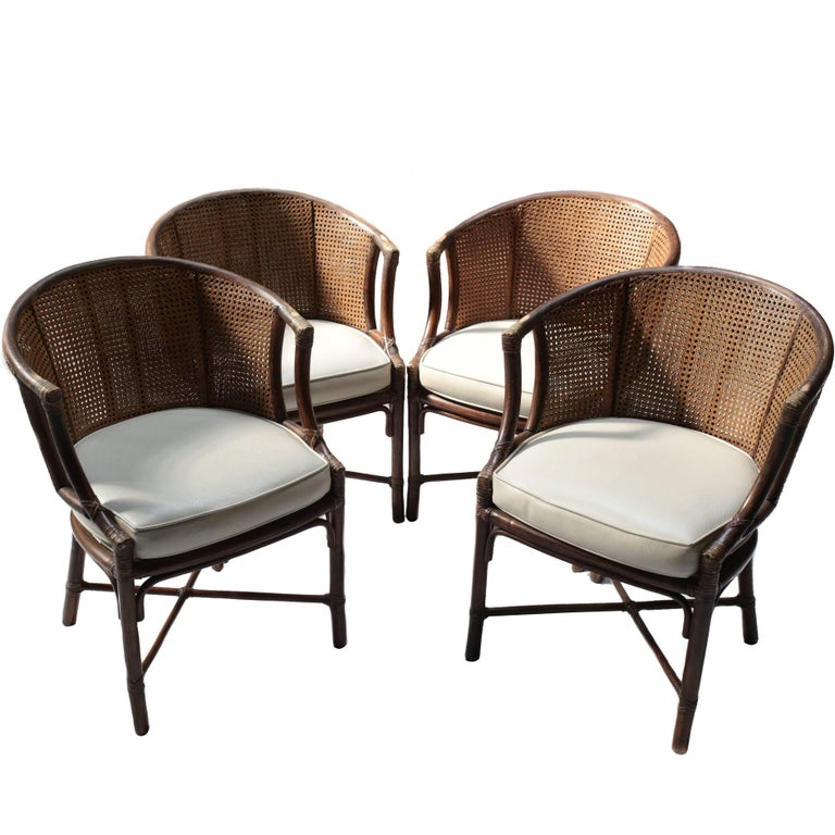 Vintage Bamboo And Rattan Dining Chairs By McGuire At 1stdibs