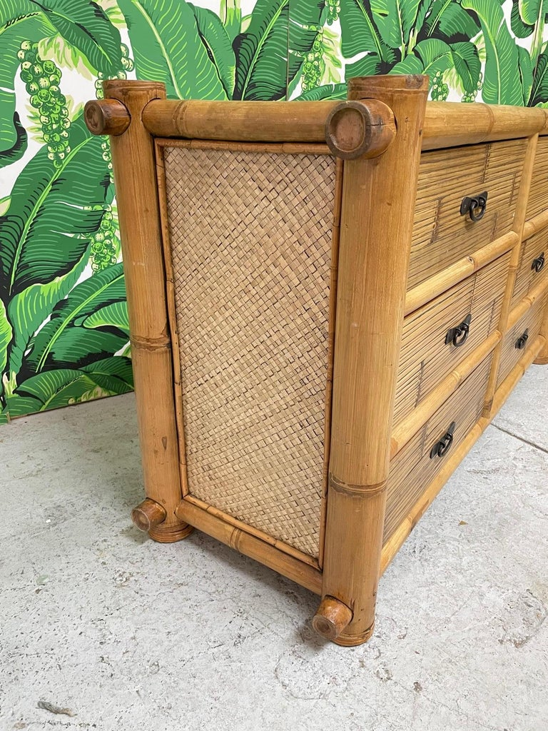 Vintage Bamboo and Rattan Double Dresser In Good Condition For Sale In Jacksonville, FL