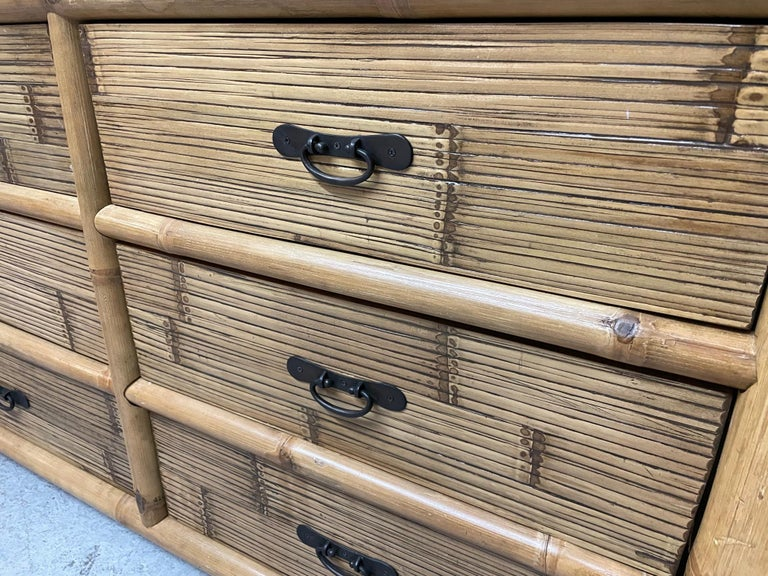 Late 20th Century Vintage Bamboo and Rattan Double Dresser For Sale
