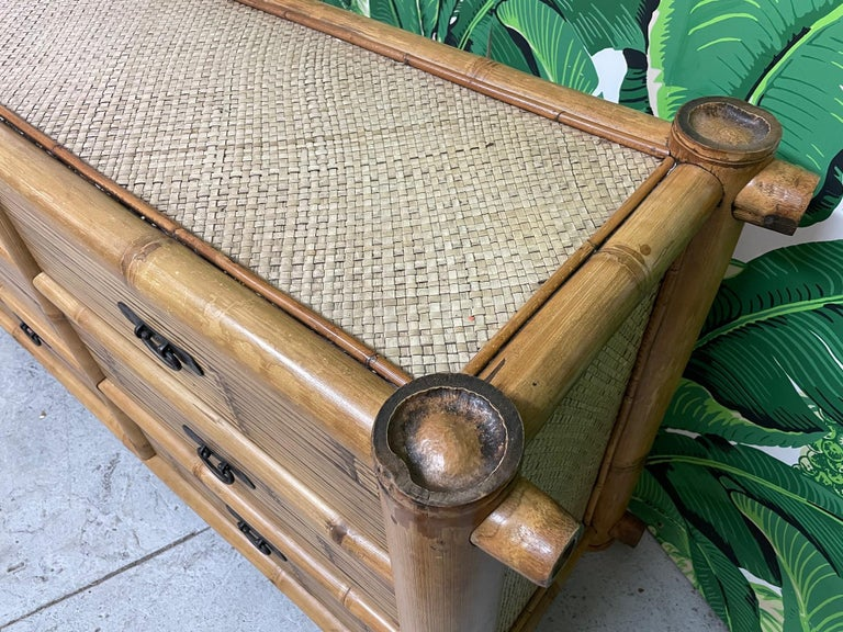 Vintage Bamboo and Rattan Double Dresser For Sale 1