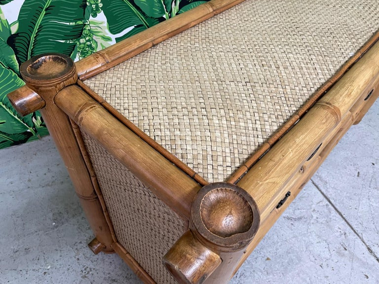 Vintage Bamboo and Rattan Double Dresser For Sale 2
