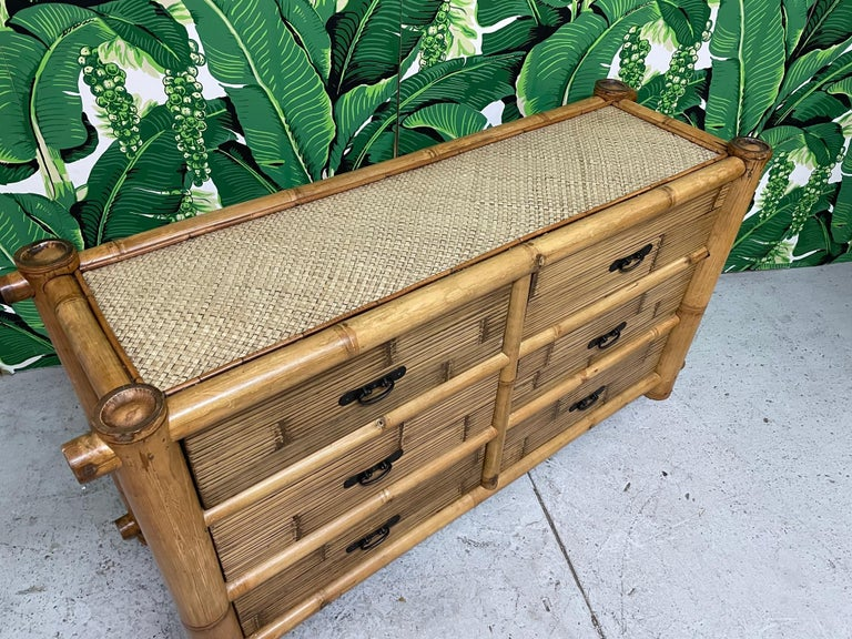 Vintage Bamboo and Rattan Double Dresser For Sale 3