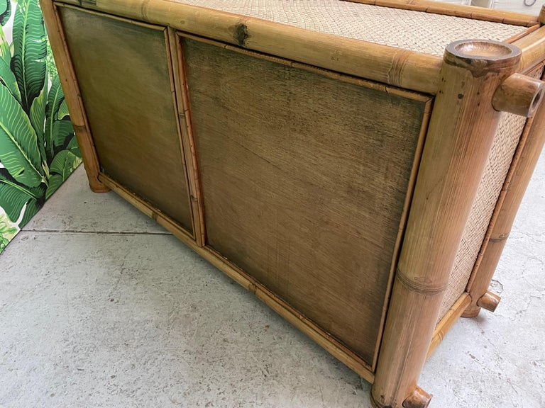 Vintage Bamboo and Rattan Double Dresser For Sale 4