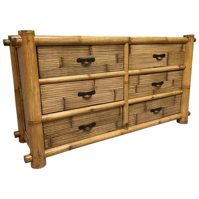 Vintage Bamboo and Rattan Double Dresser For Sale