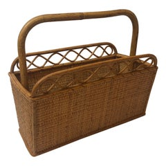 Vintage Bamboo and Rattan Magazine Holder