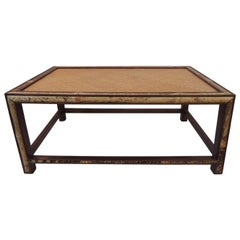 Vintage Bamboo and Rattan Rectangular Coffee Table