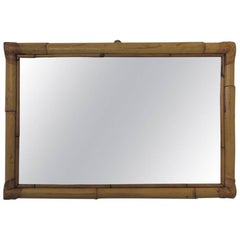 Vintage Bamboo and Rattan Rectangular Mirror