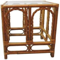Vintage Bamboo and Rattan Side Table with Glass Top