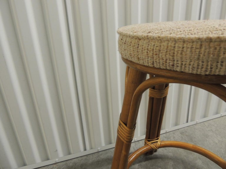 Hollywood Regency Round Vintage Bamboo and Rattan Tall Stool with Grain Sack Upholstery For Sale