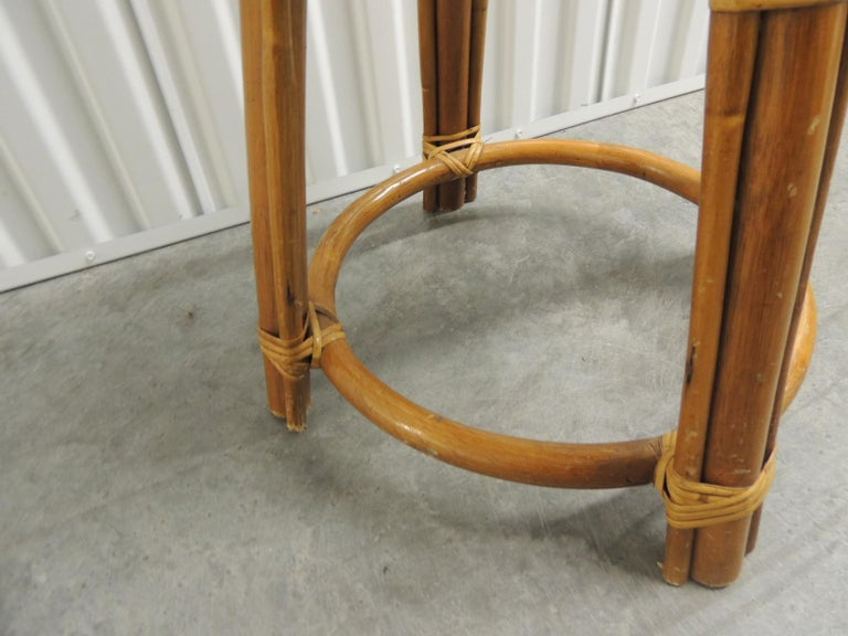 Indonesian Round Vintage Bamboo and Rattan Tall Stool with Grain Sack Upholstery For Sale
