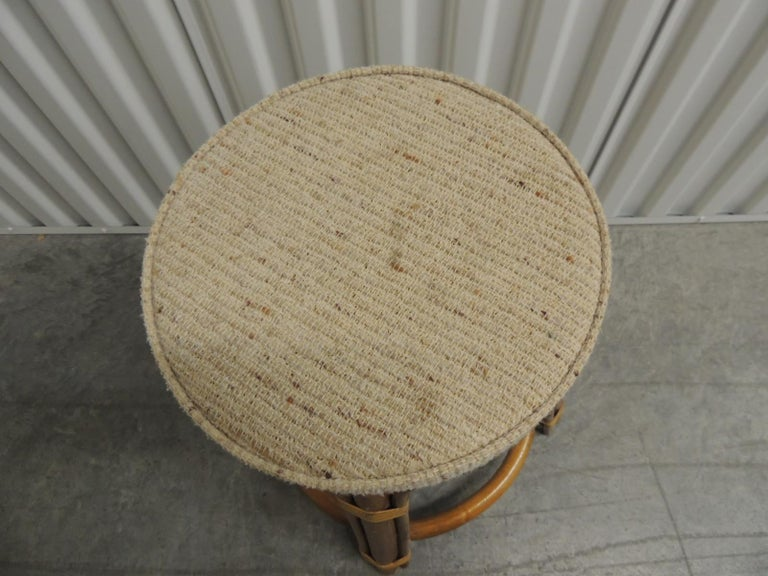Hand-Crafted Round Vintage Bamboo and Rattan Tall Stool with Grain Sack Upholstery For Sale
