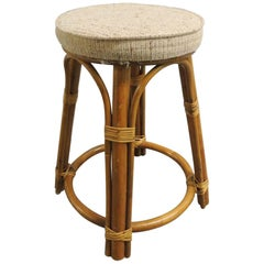Round Vintage Bamboo and Rattan Tall Stool with Grain Sack Upholstery