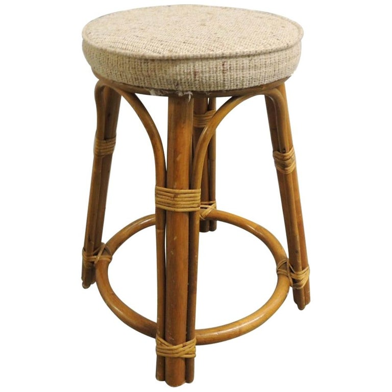 Round Vintage Bamboo and Rattan Tall Stool with Grain Sack Upholstery For Sale