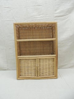 Vintage Bamboo and Rattan Wall Cabinet with Shelf