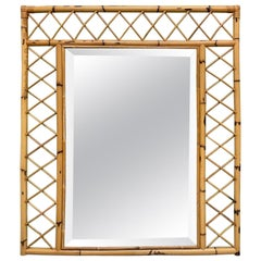 Vintage Bamboo and Rattan Wall Mirror