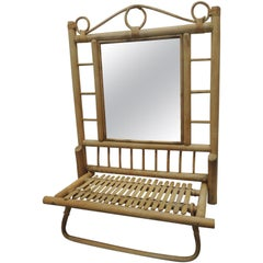 Vintage Bamboo and Rattan Wall Mirror with Folding Shelf and Towel Bar