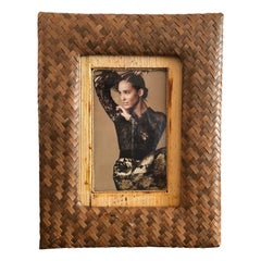 Vintage Bamboo and Rattan Woven Picture Frame