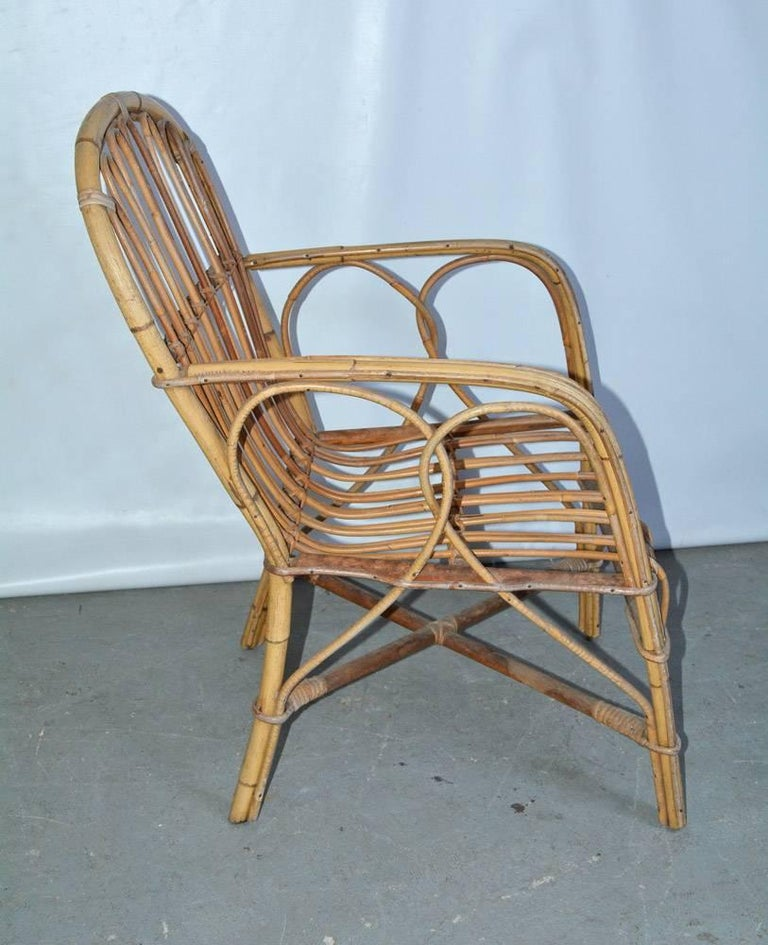 American Vintage Bamboo Arm Chair For Sale