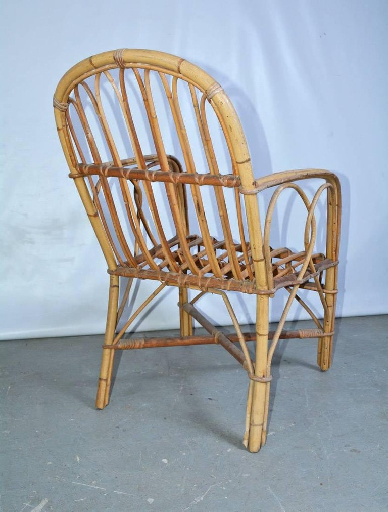 Vintage Bamboo Arm Chair In Good Condition For Sale In Great Barrington, MA