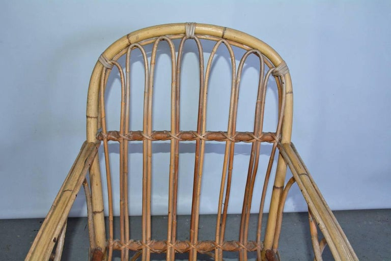 Mid-20th Century Vintage Bamboo Arm Chair For Sale