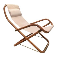 Vintage Bamboo and Brass Folding Lounge Chair, Italy, 1960s