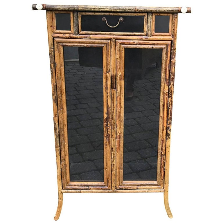 Vintage Bamboo Cabinet, Glass Panels, One Drawer