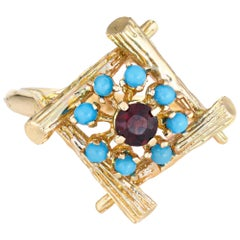Vintage Bamboo Cocktail Ring Turquoise Garnet 14 Karat Gold Estate Jewelry