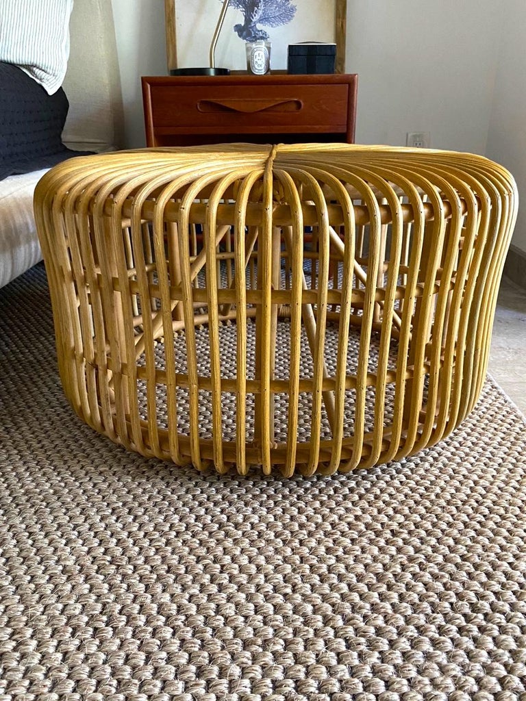 Vintage Bamboo Coffee Table or Ottoman with Geometric, Indonesia, c. 2000 For Sale 5